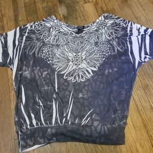 Tops - Womens medium Grey black and white Top